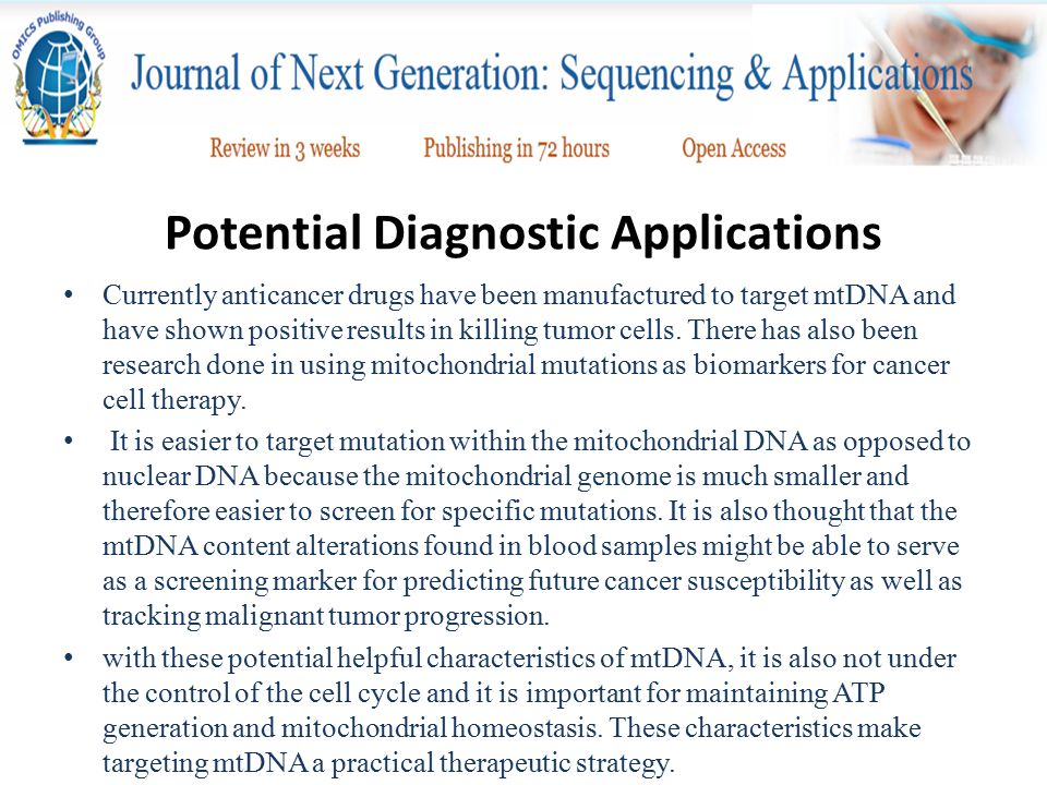 Potential Diagnostic Applications Currently anticancer drugs have been manufactured to target mtDNA and have shown positive results in killing tumor c
