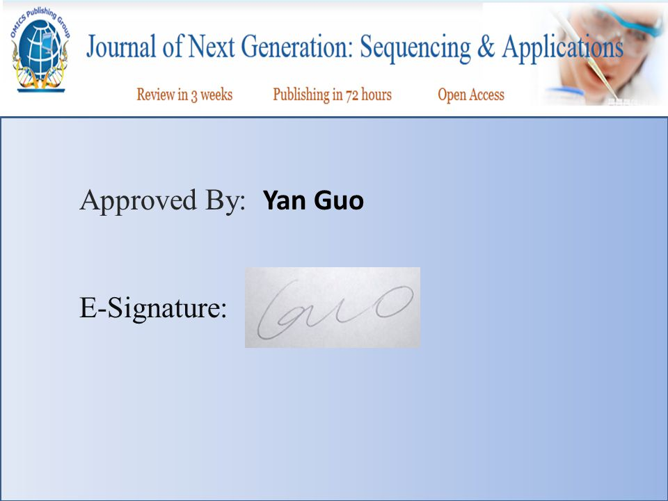 Approved By: Yan Guo E-Signature: