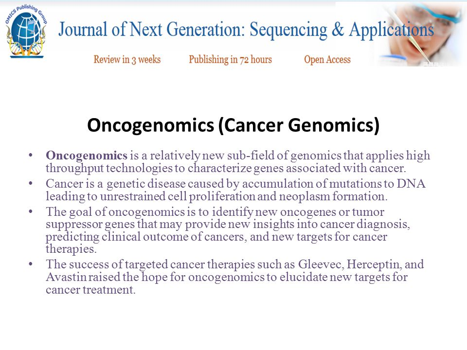 Overall Goals of Oncogenomics
