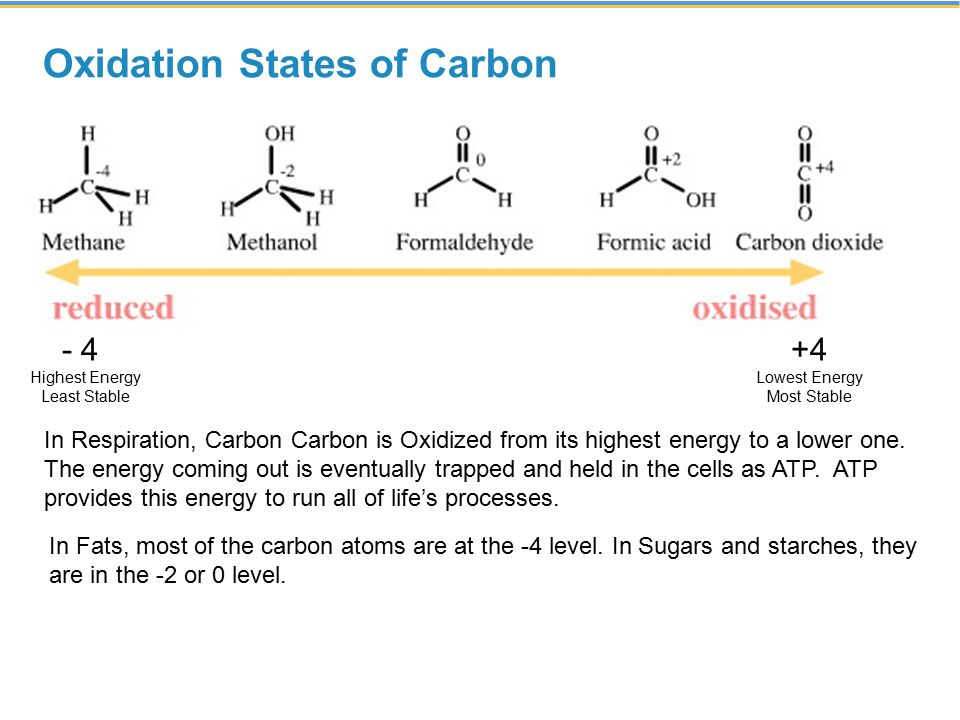 Oxidation States of Carbon - 4 Highest Energy Least Stable +4 Lowest Energy Most Stable In Respiration, Carbon Carbon is Oxidized from its highest energy to a lower one.