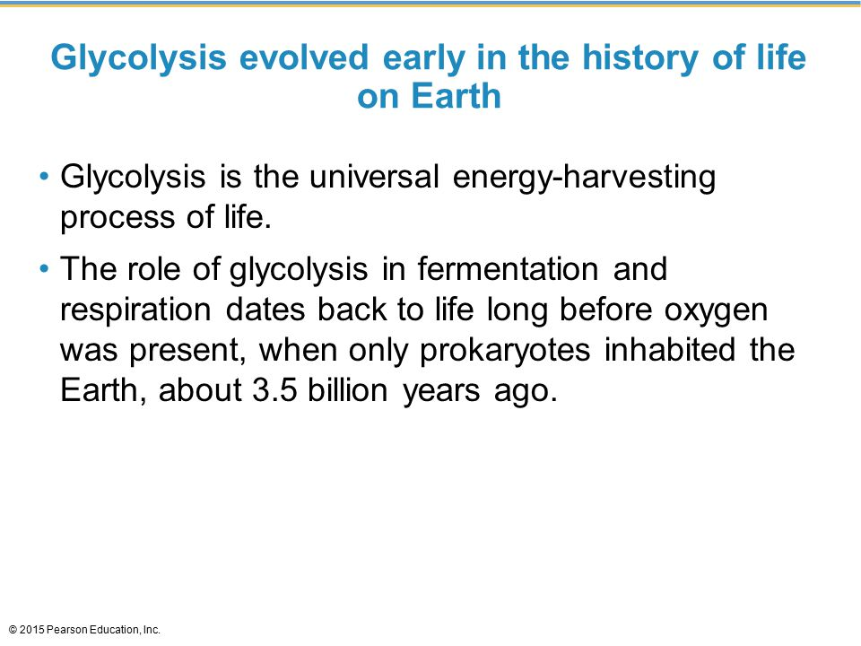 Glycolysis evolved early in the history of life on Earth Glycolysis is the universal energy-harvesting process of life. The role of glycolysis in ferm