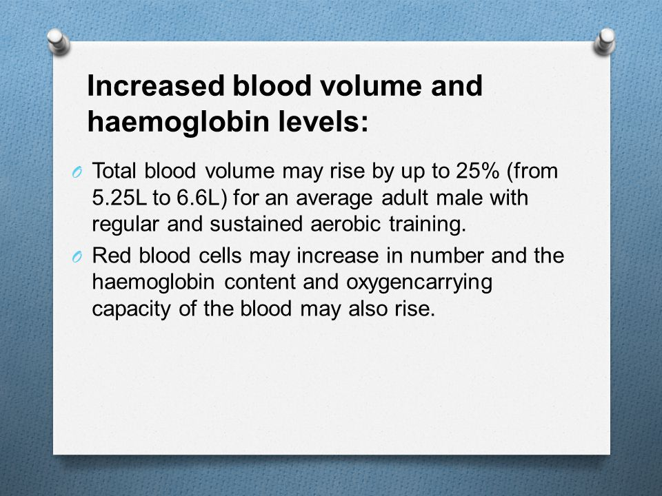 Increased blood volume and haemoglobin levels: O Total blood volume may rise by up to 25% (from 5.25L to 6.6L) for an average adult male with regular and sustained aerobic training.