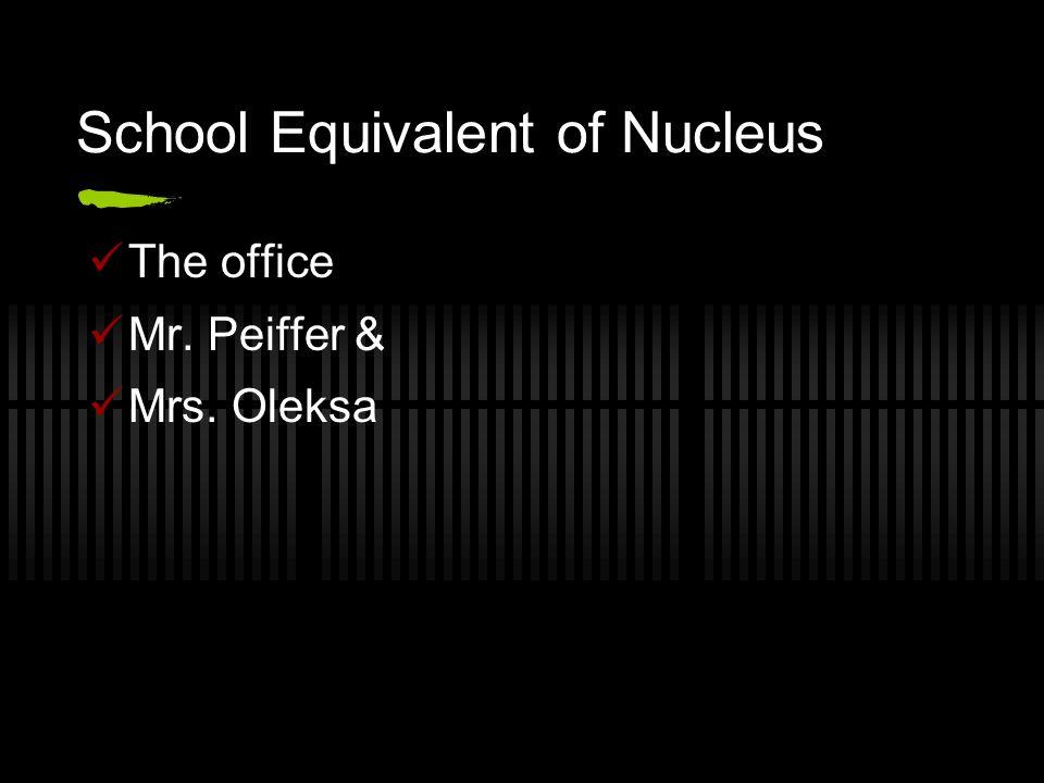 School Equivalent of Nucleus The office Mr. Peiffer & Mrs. Oleksa