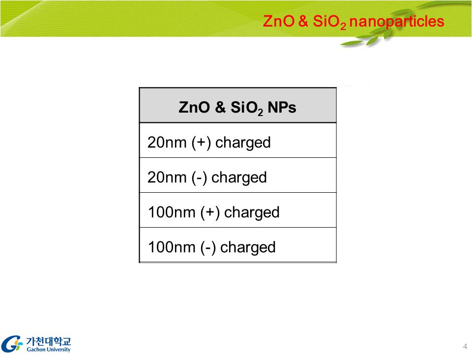 4 ZnO & SiO 2 NPs 20nm (+) charged 20nm (-) charged 100nm (+) charged 100nm (-) charged