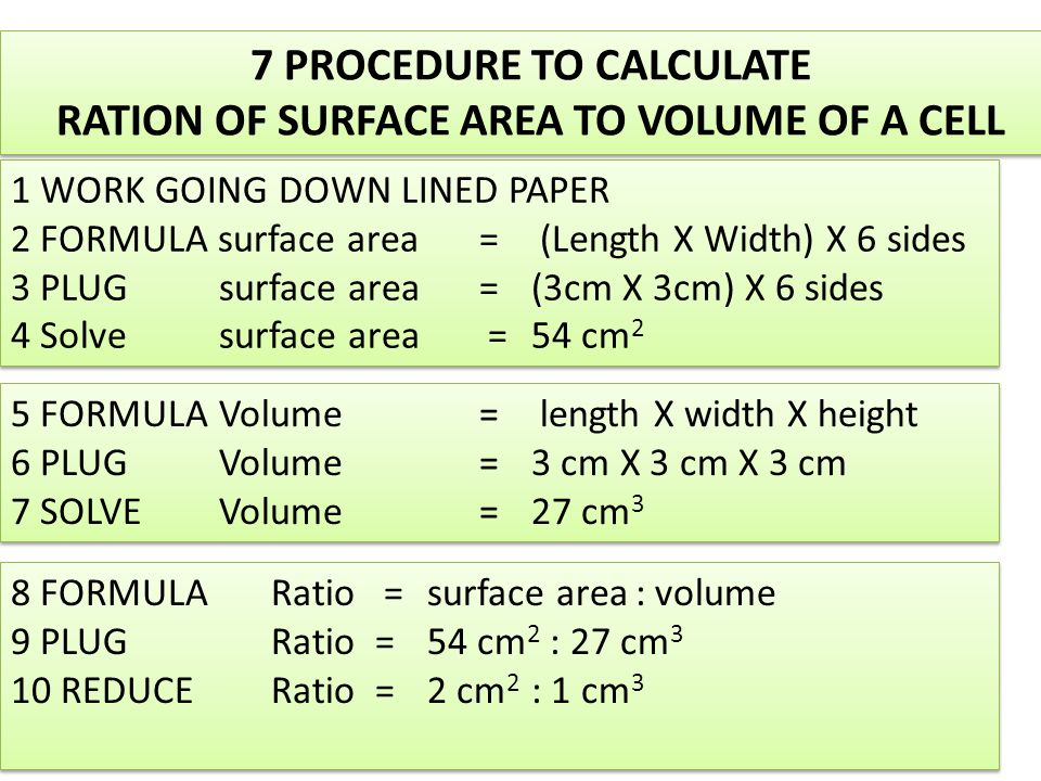 1 WORK GOING DOWN LINED PAPER 2 FORMULA surface area= (Length X Width) X 6 sides 3 PLUGsurface area=(3cm X 3cm) X 6 sides 4 Solvesurface area =54 cm 2 1 WORK GOING DOWN LINED PAPER 2 FORMULA surface area= (Length X Width) X 6 sides 3 PLUGsurface area=(3cm X 3cm) X 6 sides 4 Solvesurface area =54 cm 2 5 FORMULA Volume = length X width X height 6 PLUGVolume=3 cm X 3 cm X 3 cm 7 SOLVEVolume=27 cm 3 5 FORMULA Volume = length X width X height 6 PLUGVolume=3 cm X 3 cm X 3 cm 7 SOLVEVolume=27 cm 3 8 FORMULA Ratio = surface area: volume 9 PLUGRatio =54 cm 2 : 27 cm 3 10 REDUCERatio=2 cm 2 : 1 cm 3 8 FORMULA Ratio = surface area: volume 9 PLUGRatio =54 cm 2 : 27 cm 3 10 REDUCERatio=2 cm 2 : 1 cm 3 7 PROCEDURE TO CALCULATE RATION OF SURFACE AREA TO VOLUME OF A CELL 7 PROCEDURE TO CALCULATE RATION OF SURFACE AREA TO VOLUME OF A CELL