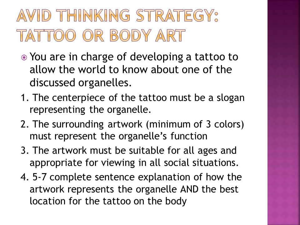  You are in charge of developing a tattoo to allow the world to know about one of the discussed organelles. 1. The centerpiece of the tattoo must be