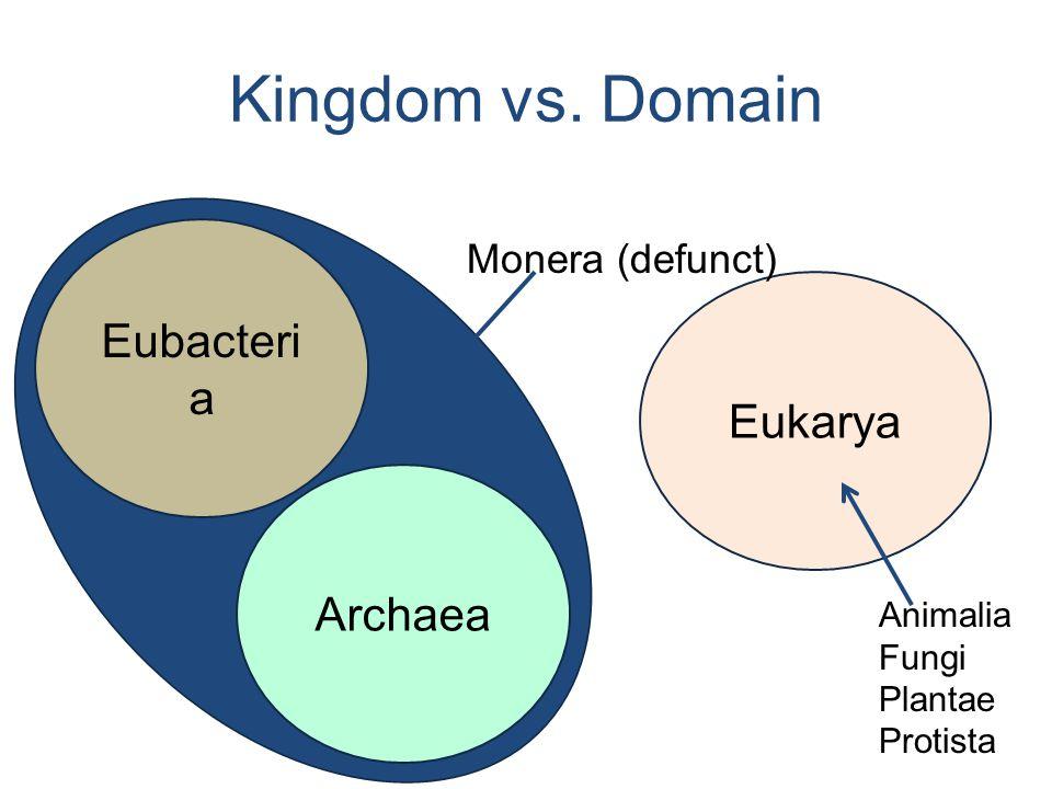 Eubacteri a Archaea Eukarya Animalia Fungi Plantae Protista Monera (defunct) Kingdom vs. Domain