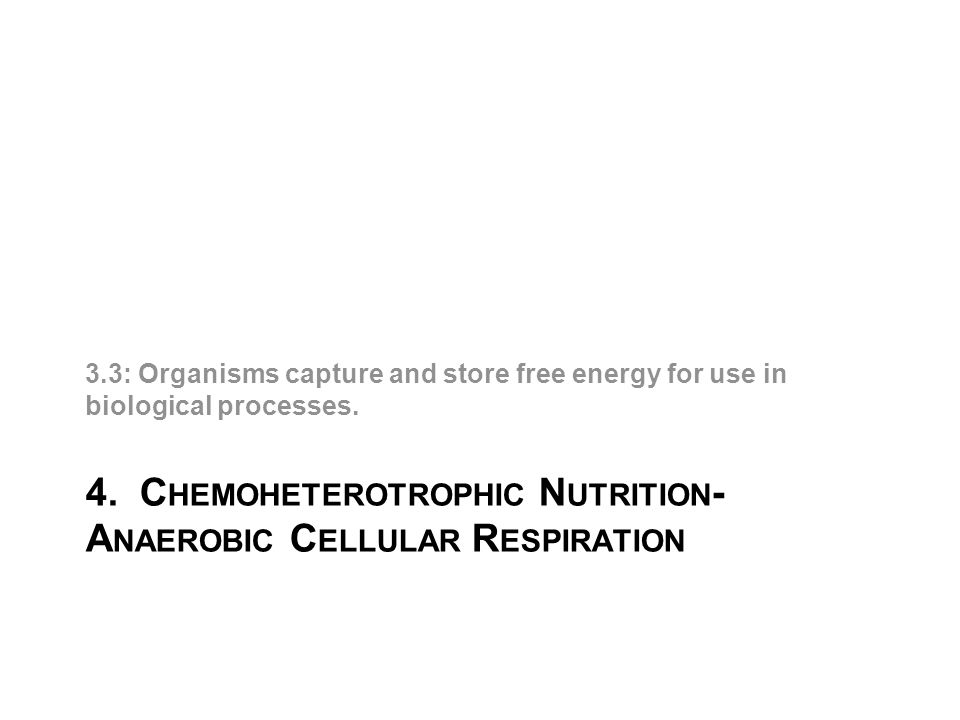 4. C HEMOHETEROTROPHIC N UTRITION - A NAEROBIC C ELLULAR R ESPIRATION 3.3: Organisms capture and store free energy for use in biological processes.