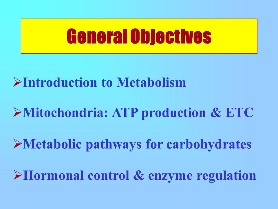 General Objectives  Metabolic pathways for carbohydrates  Hormonal control & enzyme regulation  Introduction to Metabolism  Mitochondria: ATP production & ETC