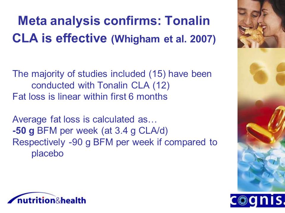 Meta analysis confirms: Tonalin CLA is effective (Whigham et al.
