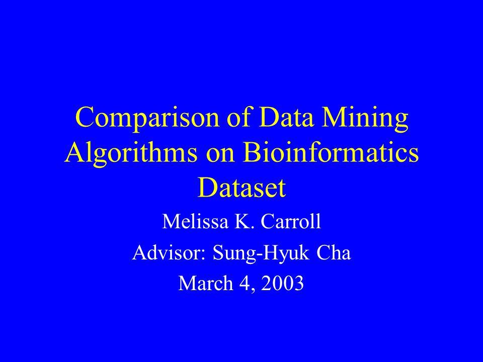 Comparison of Data Mining Algorithms on Bioinformatics Dataset Melissa K.