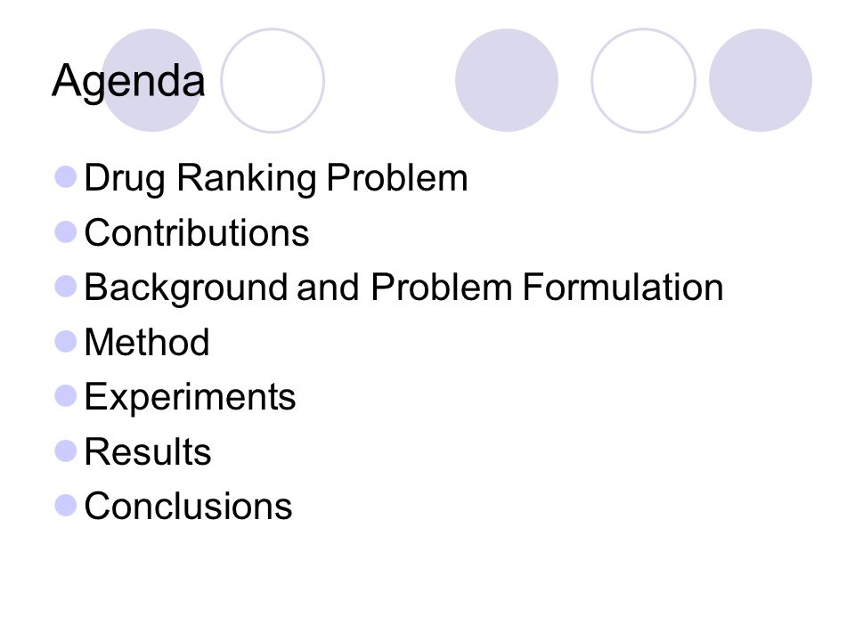 Agenda Drug Ranking Problem Contributions Background and Problem Formulation Method Experiments Results Conclusions