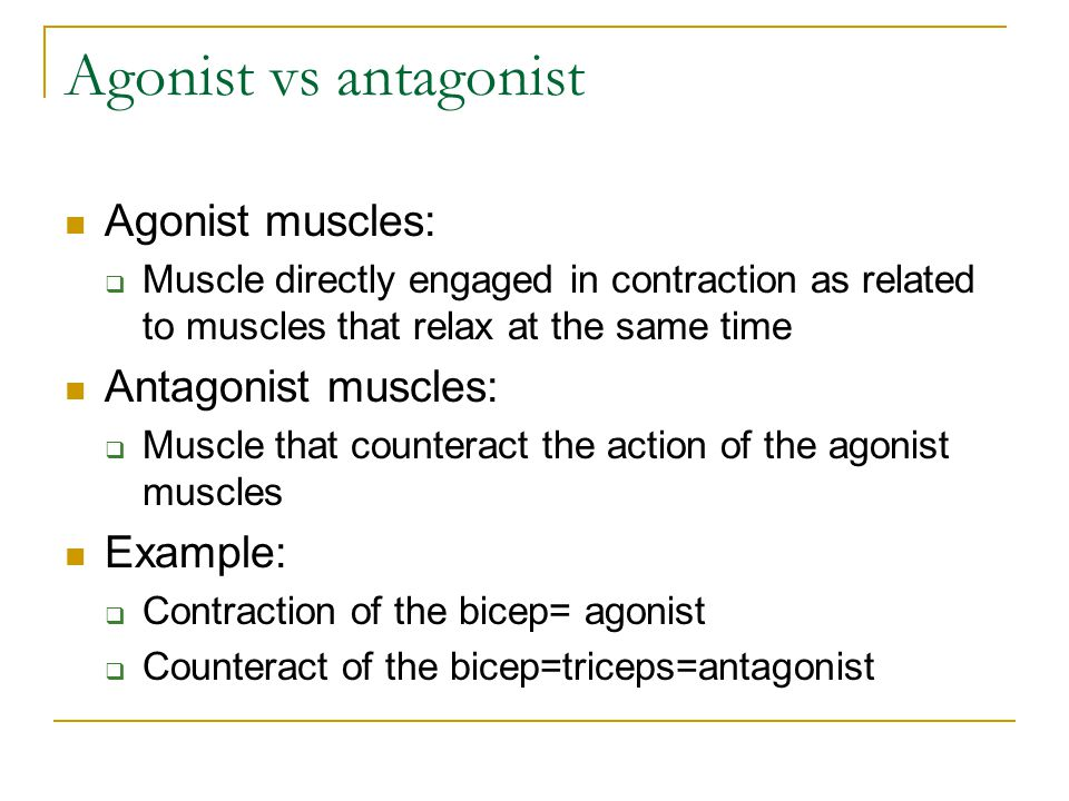 Agonist vs antagonist Agonist muscles:  Muscle directly engaged in contraction as related to muscles that relax at the same time Antagonist muscles: