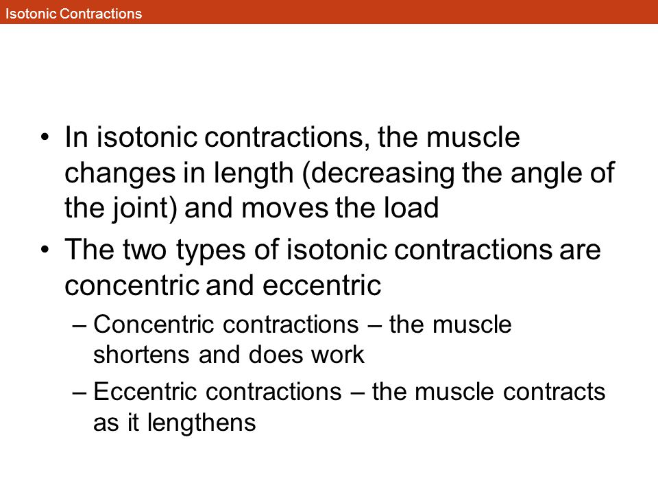 Isotonic Contractions In isotonic contractions, the muscle changes in length (decreasing the angle of the joint) and moves the load The two types of i