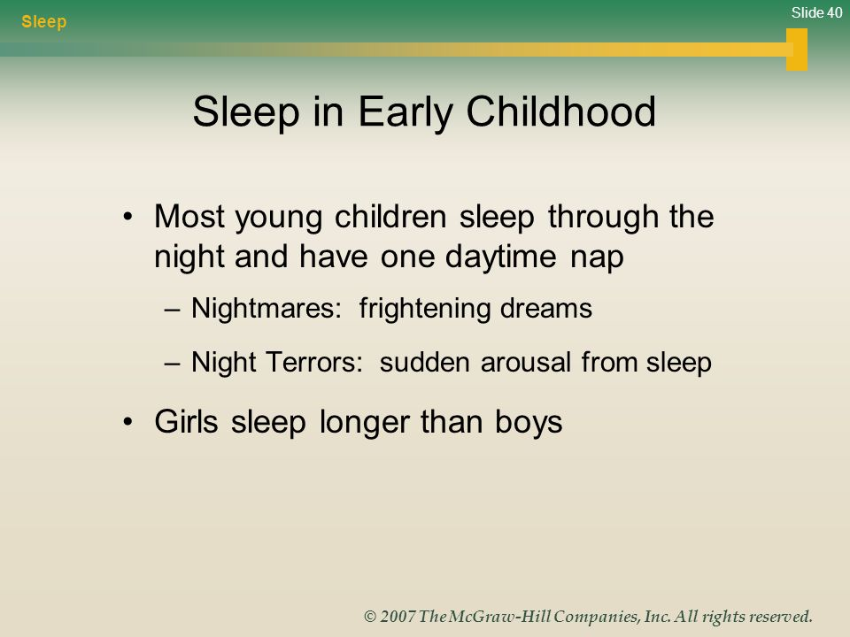 Slide 40 © 2007 The McGraw-Hill Companies, Inc. All rights reserved. Sleep in Early Childhood Most young children sleep through the night and have one