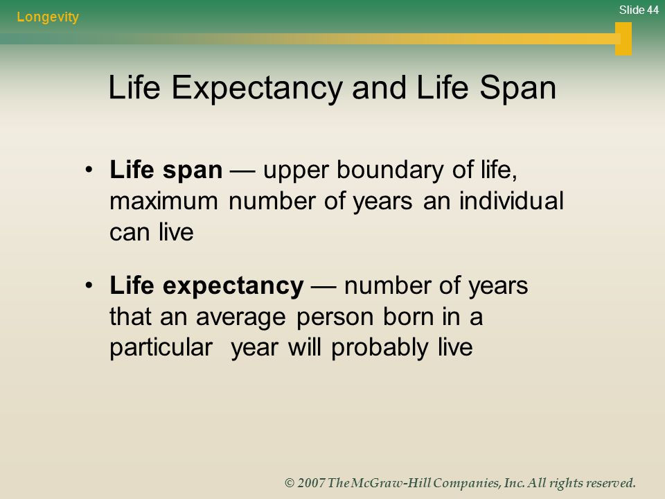Slide 44 © 2007 The McGraw-Hill Companies, Inc. All rights reserved. Life Expectancy and Life Span Life span — upper boundary of life, maximum number