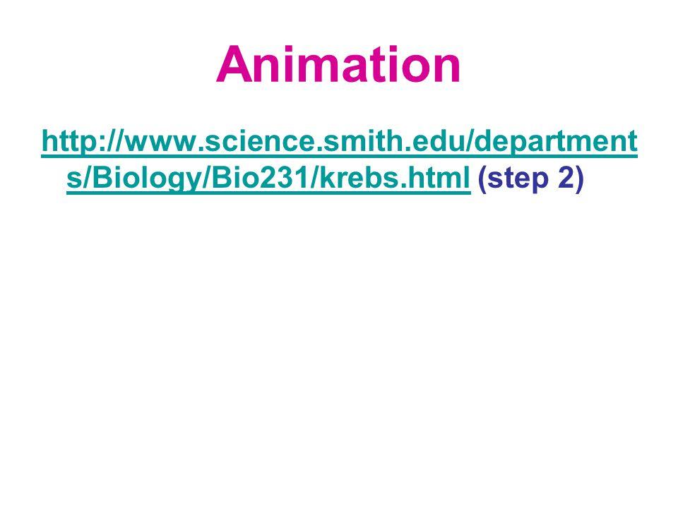Animation http://www.science.smith.edu/department s/Biology/Bio231/krebs.htmlhttp://www.science.smith.edu/department s/Biology/Bio231/krebs.html (step 2)