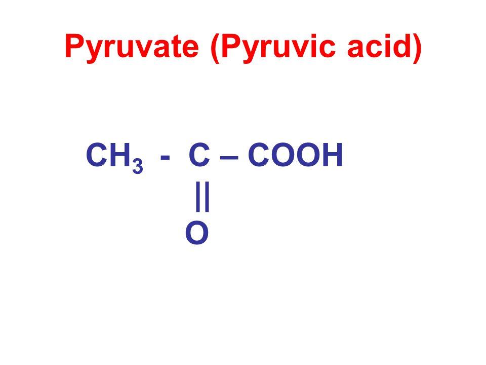 Pyruvate (Pyruvic acid) CH 3 - C – COOH || O