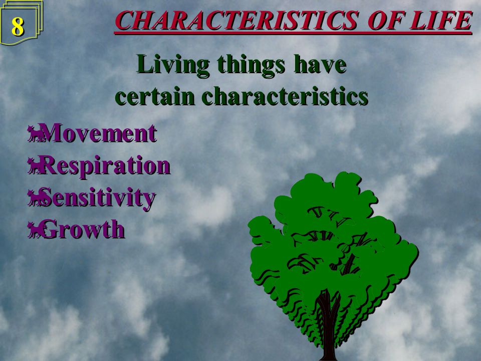 CHARACTERISTICS OF LIFE 7 7 Living things have certain characteristics Living things have certain characteristics  Movement  Respiration  Sensitivi