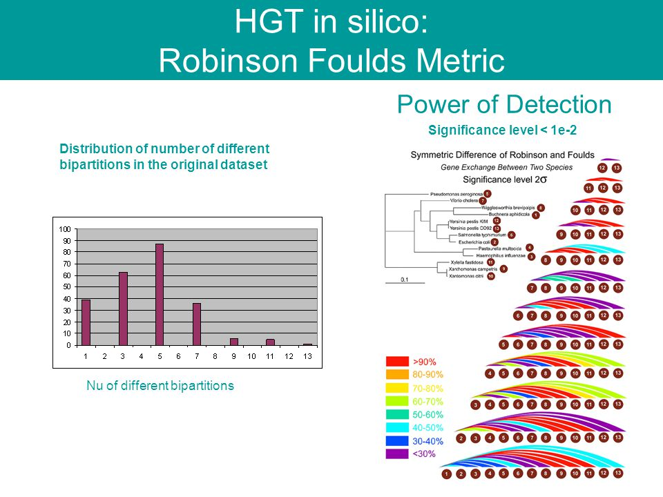 HGT in silico: Robinson Foulds Metric Nu of different bipartitions Distribution of number of different bipartitions in the original dataset Power of Detection Significance level < 1e-2