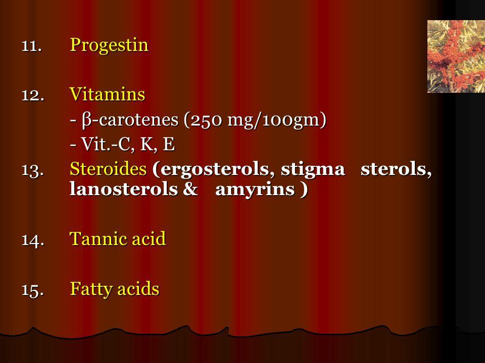 11.Progestin 12.Vitamins - β-carotenes (250 mg/100gm) - β-carotenes (250 mg/100gm) - Vit.-C, K, E - Vit.-C, K, E 13.Steroides (ergosterols, stigma sterols, lanosterols & amyrins ) 14.Tannic acid 15.Fatty acids