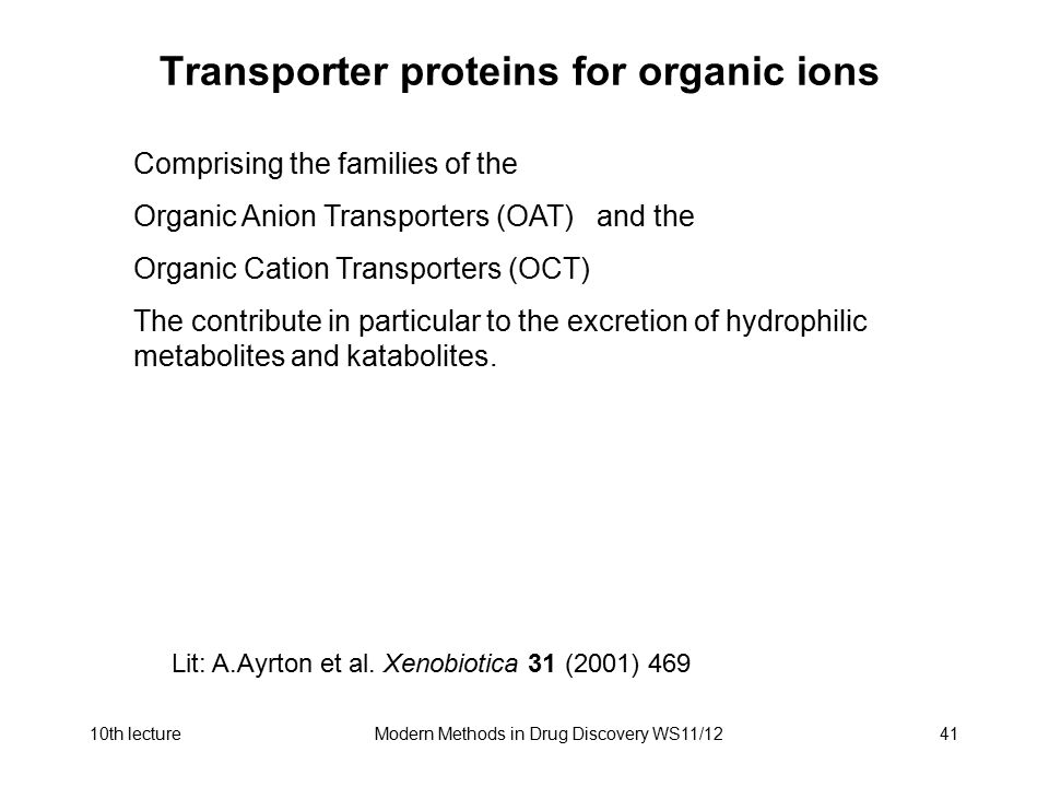 10th lectureModern Methods in Drug Discovery WS11/1241 Transporter proteins for organic ions Comprising the families of the Organic Anion Transporters