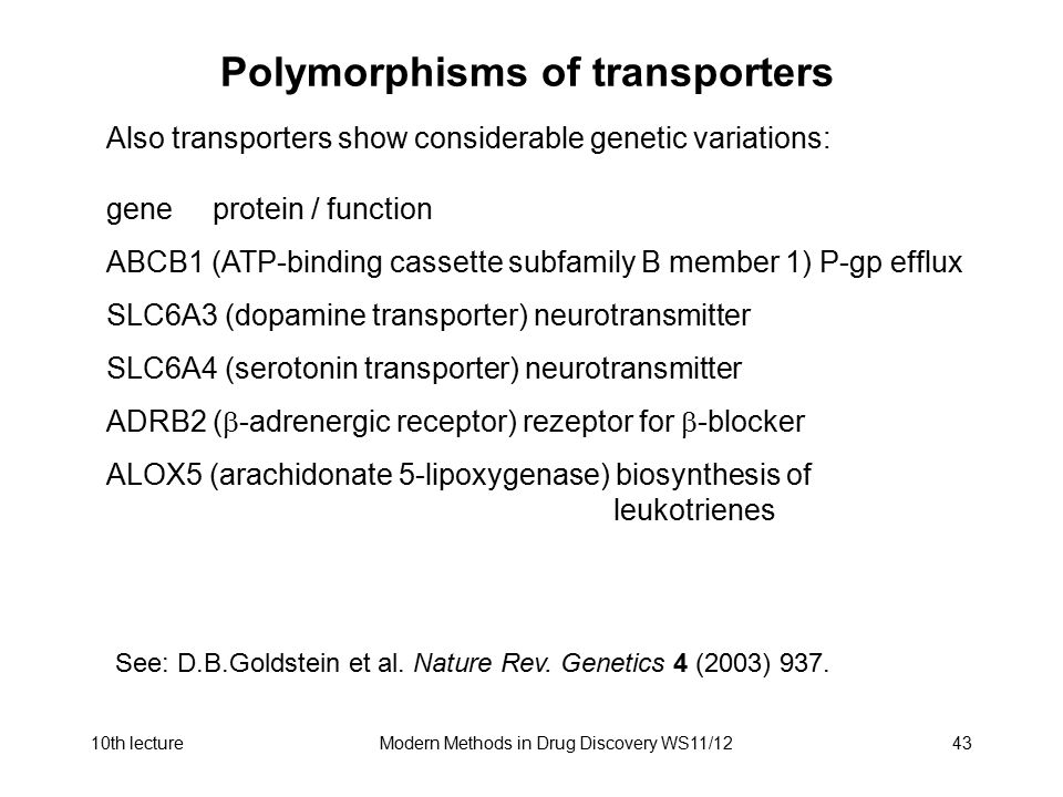 10th lectureModern Methods in Drug Discovery WS11/1243 Polymorphisms of transporters Also transporters show considerable genetic variations: geneprote