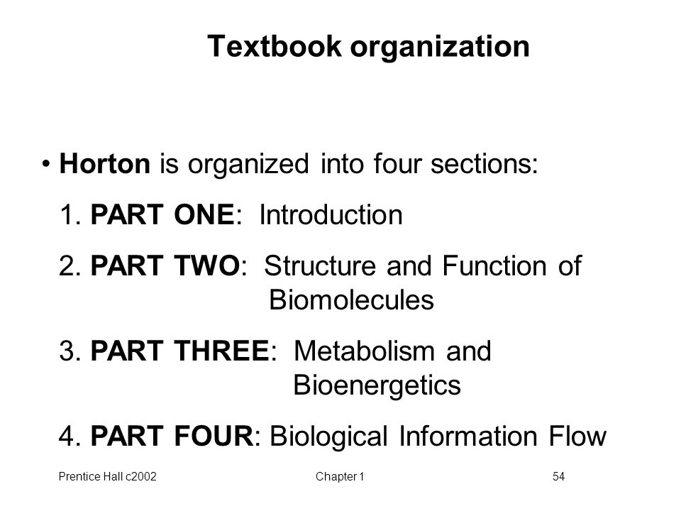 Prentice Hall c2002Chapter 154 Textbook organization Horton is organized into four sections: 1.