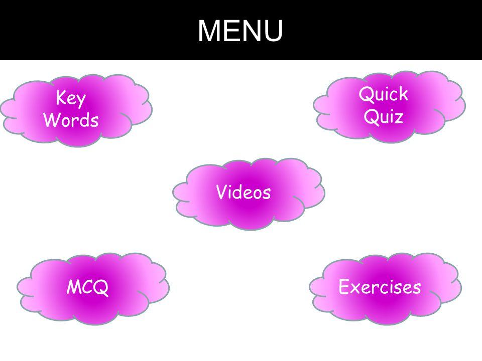 MENU Key Words Exercises Quick Quiz MCQ Videos