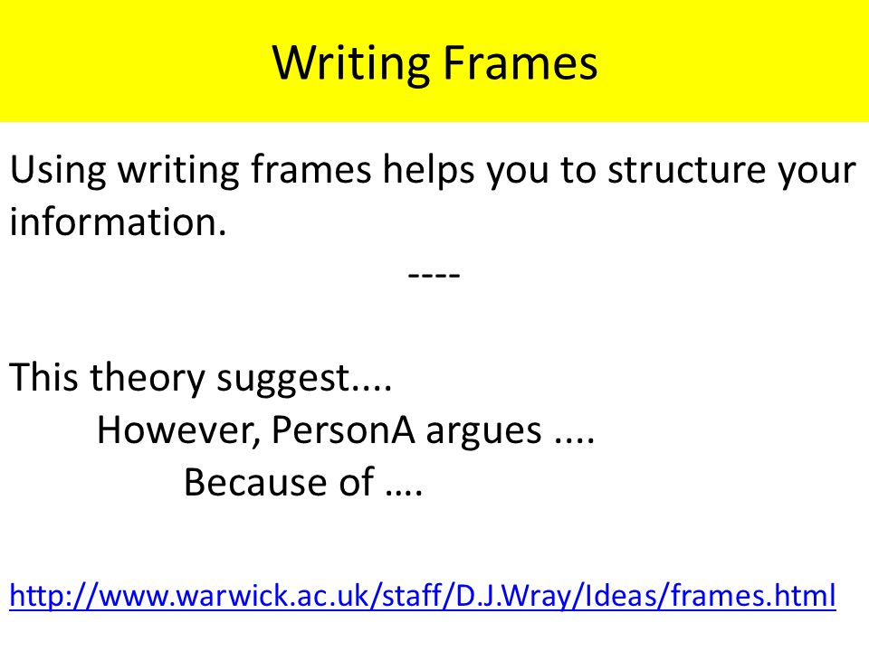 Writing Frames Using writing frames helps you to structure your information.