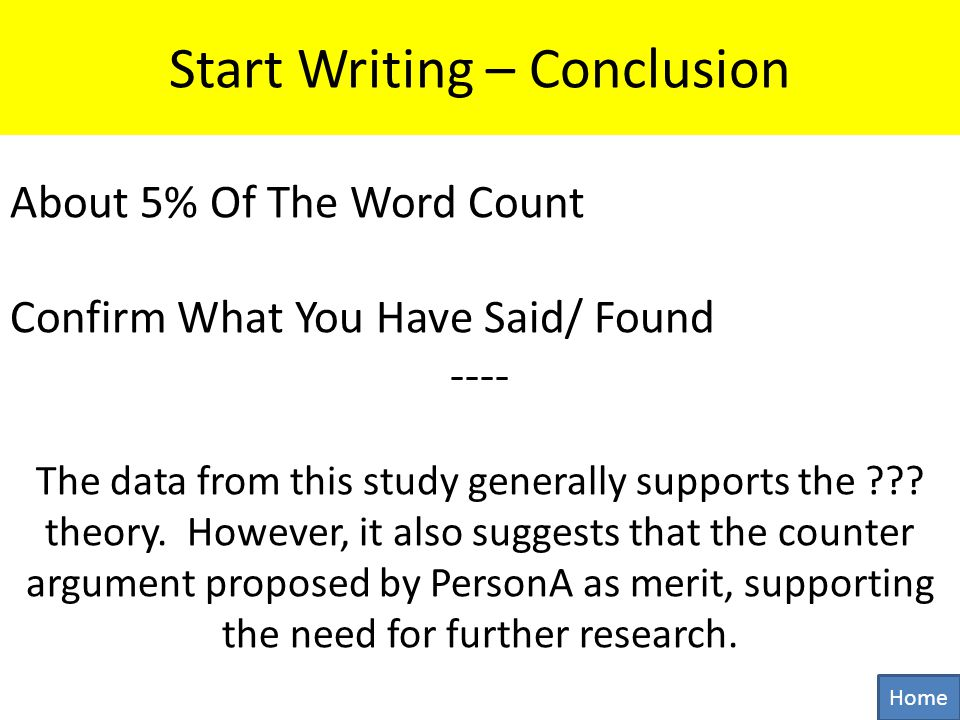 Start Writing – Conclusion About 5% Of The Word Count Confirm What You Have Said/ Found ---- The data from this study generally supports the .