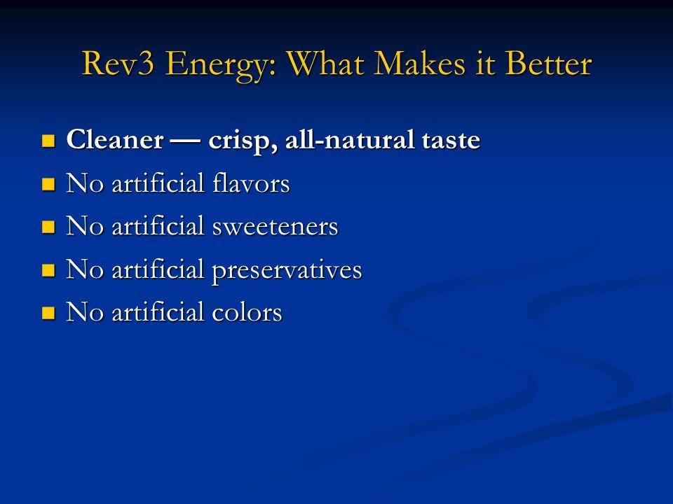 Rev3 Energy: What Makes it Better Cleaner — crisp, all-natural taste Cleaner — crisp, all-natural taste No artificial flavors No artificial flavors No artificial sweeteners No artificial sweeteners No artificial preservatives No artificial preservatives No artificial colors No artificial colors