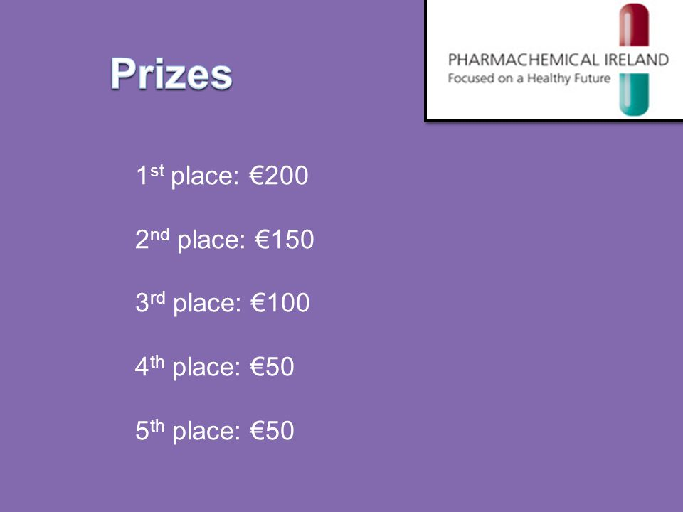 Prizes 1 st place: €200 2 nd place: €150 3 rd place: €100 4 th place: €50 5 th place: €50