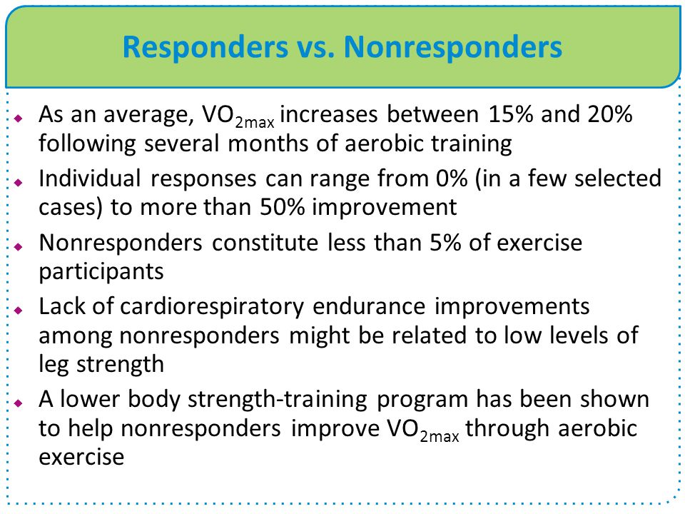Responders vs. Nonresponders  As an average, VO 2max increases between 15% and 20% following several months of aerobic training  Individual response