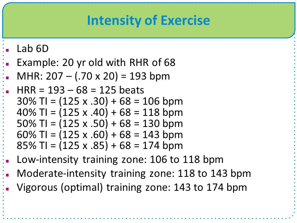 Intensity of Exercise Lab 6D Example: 20 yr old with RHR of 68 MHR: 207 – (.70 x 20) = 193 bpm HRR = 193 – 68 = 125 beats 30% TI = (125 x.30) + 68 = 1