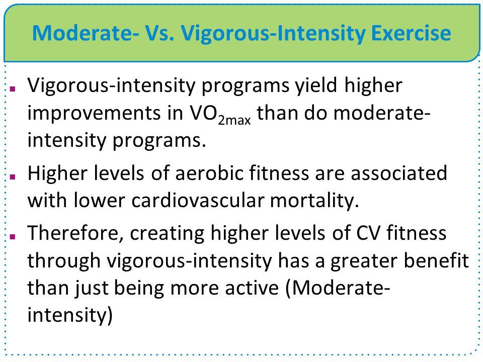 Moderate- Vs. Vigorous-Intensity Exercise Vigorous-intensity programs yield higher improvements in VO 2max than do moderate- intensity programs. Highe