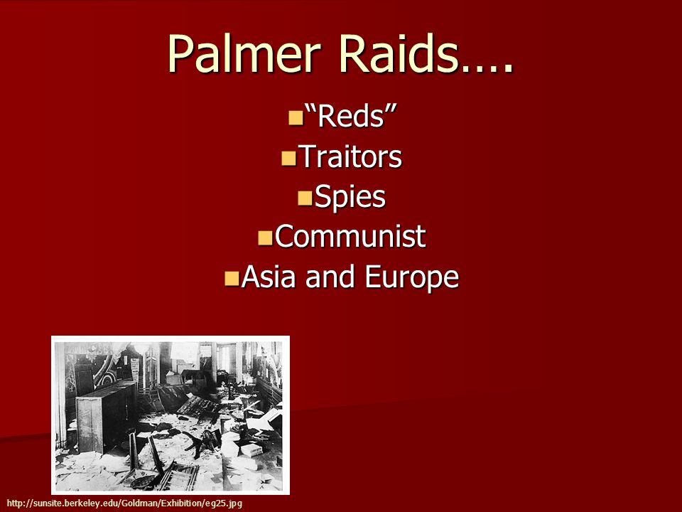 Mitchell Palmer's Motives Attorney General Mitchell Palmers Motive Behind the Raids Attorney General Mitchell Palmers Motive Behind the Raids Evoked Espionage Act 1917 and Sedition Act of 1918 Evoked Espionage Act 1917 and Sedition Act of 1918 The Soviet Arc The Soviet Arc