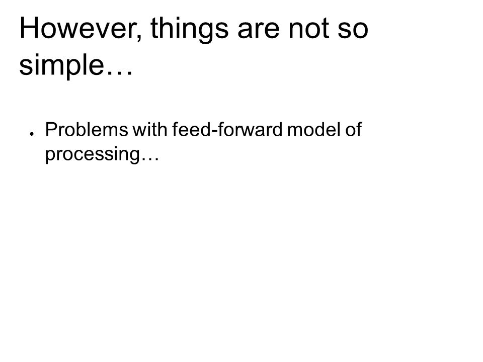 However, things are not so simple… ● Problems with feed-forward model of processing…
