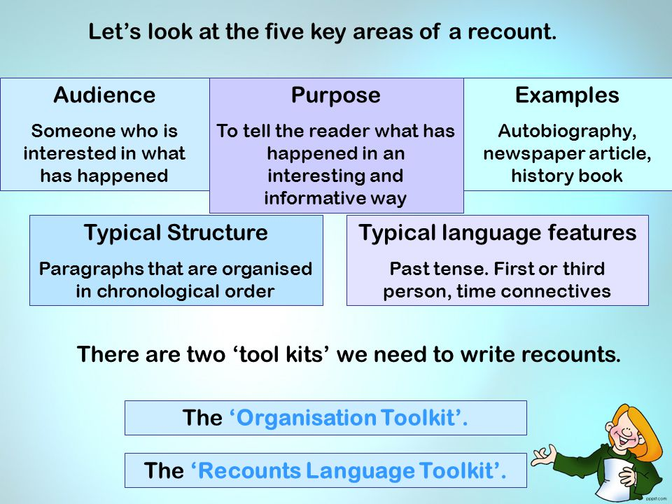 Let's look at the five key areas of a recount. The 'Organisation Toolkit'. The 'Recounts Language Toolkit'. There are two 'tool kits' we need to write