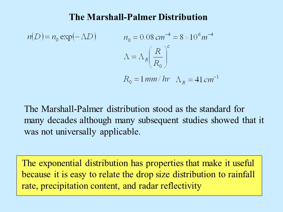 The Marshall-Palmer Distribution The Marshall-Palmer distribution stood as the standard for many decades although many subsequent studies showed that