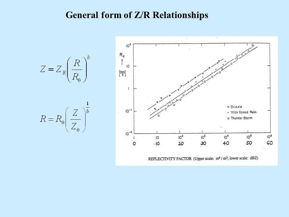 General form of Z/R Relationships