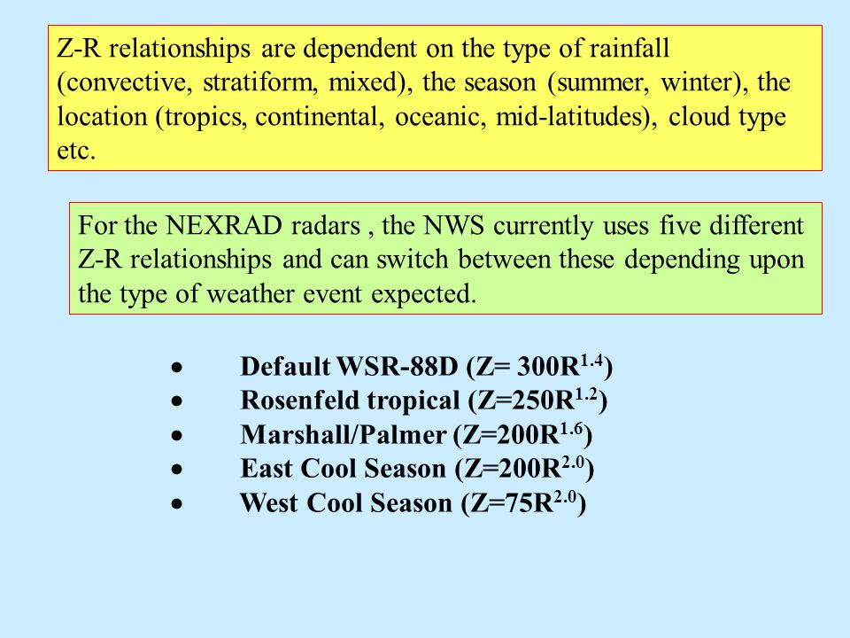 Z-R relationships are dependent on the type of rainfall (convective, stratiform, mixed), the season (summer, winter), the location (tropics, continent