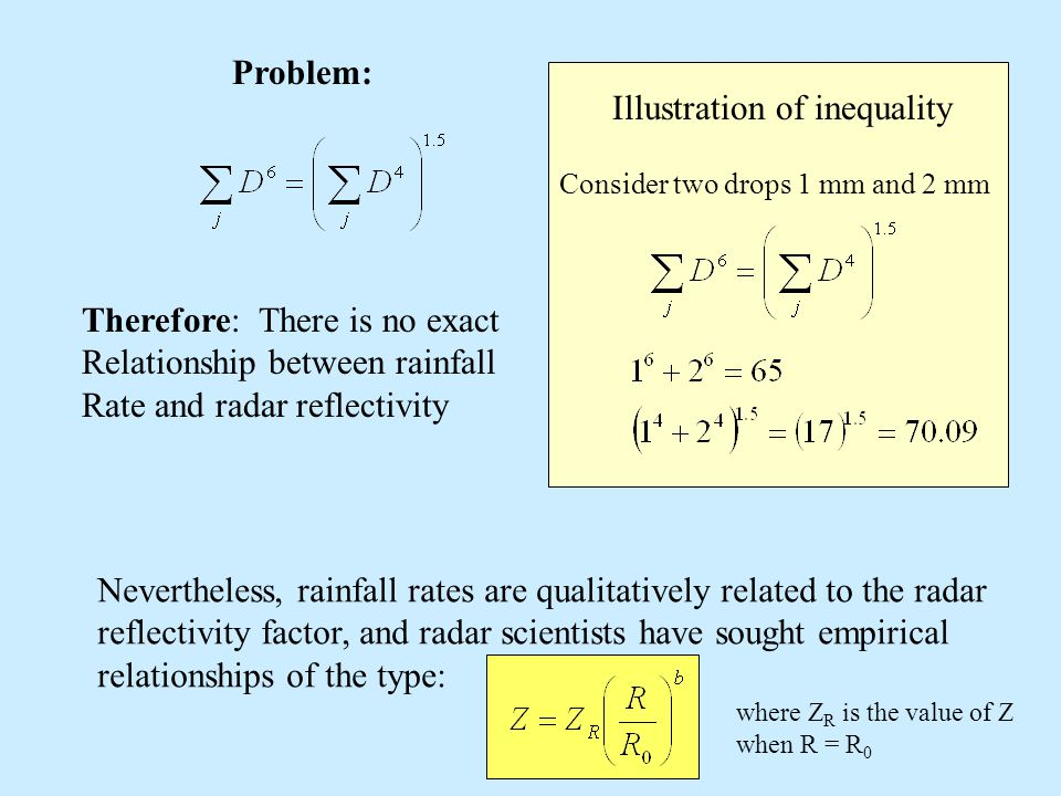 Problem: Illustration of inequality Consider two drops 1 mm and 2 mm Therefore: There is no exact Relationship between rainfall Rate and radar reflect