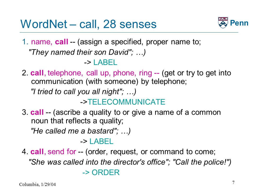 Columbia, 1/29/04 7 Penn WordNet – call, 28 senses 1.name, call -- (assign a specified, proper name to; They named their son David ; …) -> LABEL 2.