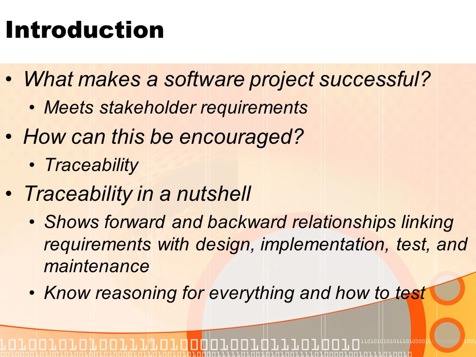 Introduction What makes a software project successful.