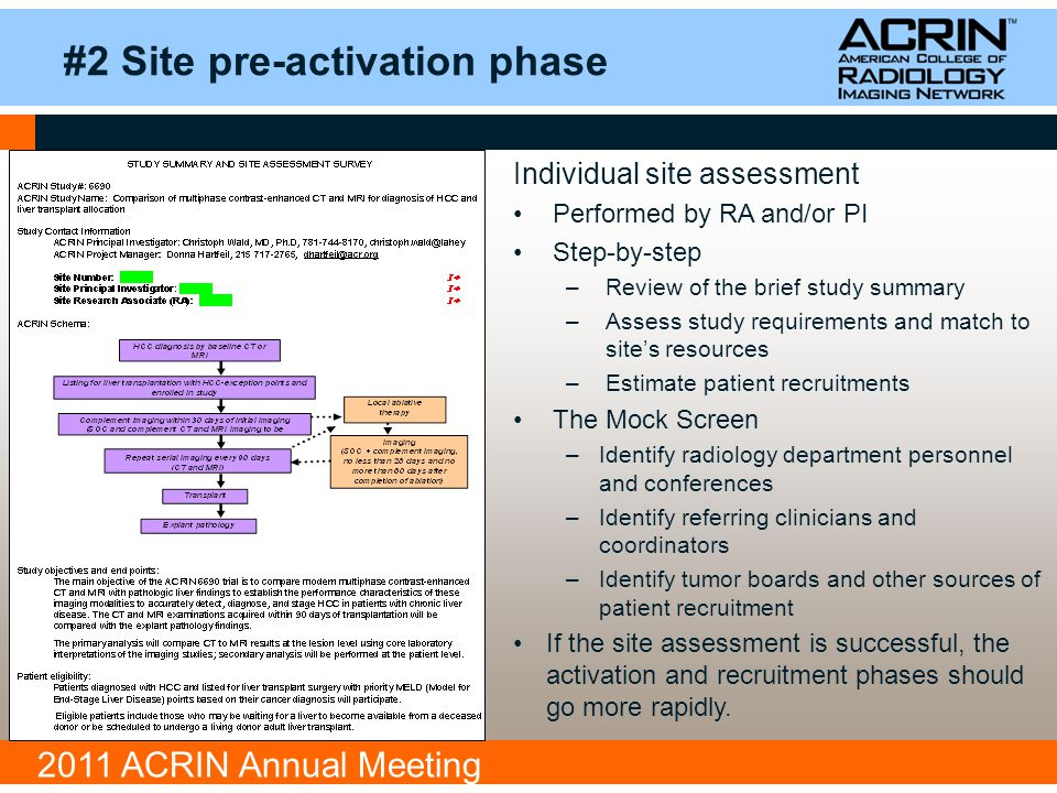 2011 ACRIN Annual Meeting #2 Site pre-activation phase Individual site assessment Performed by RA and/or PI Step-by-step –Review of the brief study summary –Assess study requirements and match to site's resources –Estimate patient recruitments The Mock Screen –Identify radiology department personnel and conferences –Identify referring clinicians and coordinators –Identify tumor boards and other sources of patient recruitment If the site assessment is successful, the activation and recruitment phases should go more rapidly.