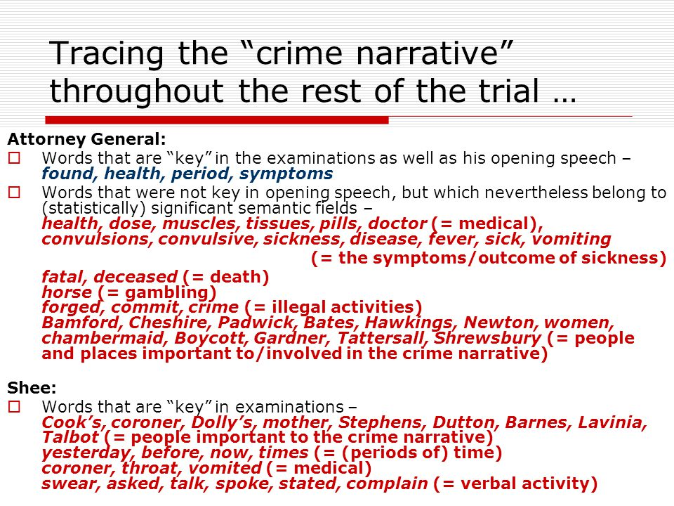 Tracing the crime narrative throughout the rest of the trial … Attorney General:  Words that are key in the examinations as well as his opening speech – found, health, period, symptoms  Words that were not key in opening speech, but which nevertheless belong to (statistically) significant semantic fields – health, dose, muscles, tissues, pills, doctor (= medical), convulsions, convulsive, sickness, disease, fever, sick, vomiting (= the symptoms/outcome of sickness) fatal, deceased (= death) horse (= gambling) forged, commit, crime (= illegal activities) Bamford, Cheshire, Padwick, Bates, Hawkings, Newton, women, chambermaid, Boycott, Gardner, Tattersall, Shrewsbury (= people and places important to/involved in the crime narrative) Shee:  Words that are key in examinations – Cook's, coroner, Dolly's, mother, Stephens, Dutton, Barnes, Lavinia, Talbot (= people important to the crime narrative) yesterday, before, now, times (= (periods of) time) coroner, throat, vomited (= medical) swear, asked, talk, spoke, stated, complain (= verbal activity)