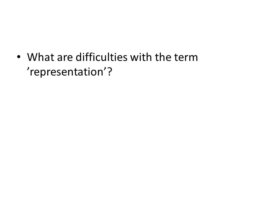 What are difficulties with the term 'representation'