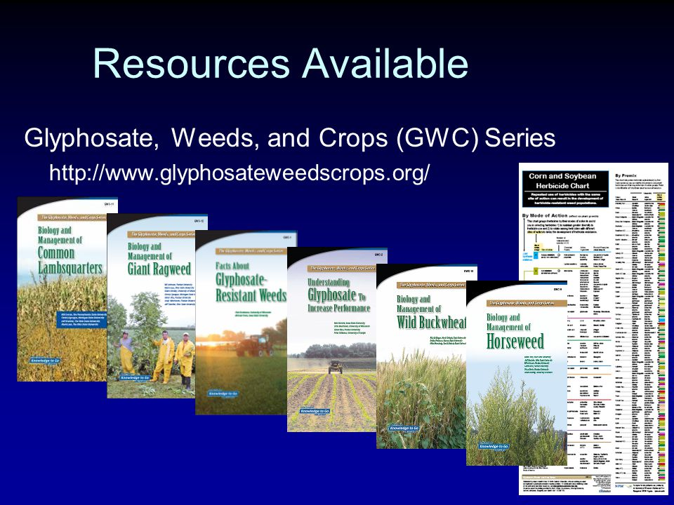 Glyphosate, Weeds, and Crops (GWC) Series http://www.glyphosateweedscrops.org/