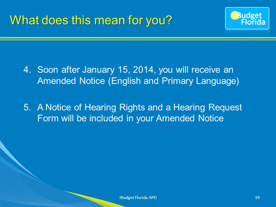 4.Soon after January 15, 2014, you will receive an Amended Notice (English and Primary Language) 5.A Notice of Hearing Rights and a Hearing Request Form will be included in your Amended Notice 19 What does this mean for you.